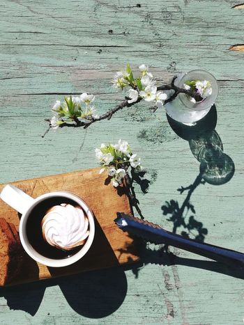 spring top view)) Food Foodphotography Natural Beauty Springtime Blooming Recreation  Season  Outdoors Outdoor Life Resting Flower Table High Angle View Shadow Close-up Food And Drink Black Coffee Latte Cappuccino Coffee Prepared Food Espresso Small Business Heroes