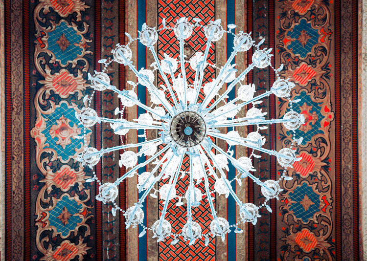 Khan' chandelier Multi Colored Full Frame Pattern Window Close-up Architecture Built Structure Chandelier Mosaic Architectural Design Crystal Architecture And Art Stained Glass Ceiling Floral Pattern Decorative Art Hanging Light Fresco Ornate LINE Semi-precious Gem Quartz Crystal Glassware