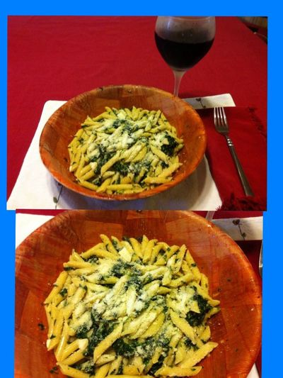 Penne with spinach sautéed in olive oil, minced garlic and hot pepper seeds, topped with fresh grated Locatella cheese. Served with my homemade 2012 Italian Amarone wine. ICanCookMyAssOff Nomnombomb ExpensiveWinos LaDolceVita