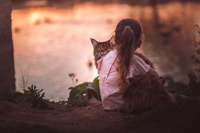 Girl with cat looking away while sitting on land during sunset