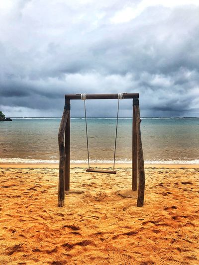 Swing Sand Beach Beach Shore No People Swing Sky Cloud - Sky Land Beach Water Nature Sea Horizon Sand Horizon Over Water Tranquility Day No People Scenics - Nature Sport Beauty In Nature Outdoors Absence