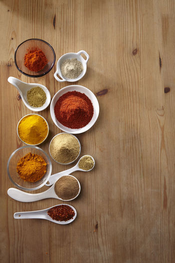 variation of spice on the wooden table Chili Pepper Choice Curry Food And Drink Hot Red Spicy Aroma Assortment Cinnamon Colorful Cumin Directly Above Flavor Food Ground - Culinary Ingredient Paprika Pepper Seasoning Spice Turmeric  Variation Wooden Background Yellow