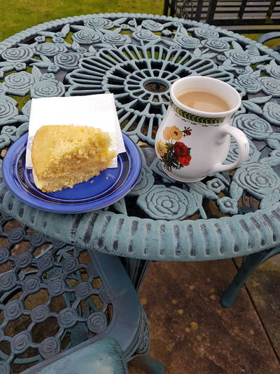 Drink Plate Outdoors Cup Old-fashioned Tea Cup Tea - Hot Drink Food And Drink High Angle View