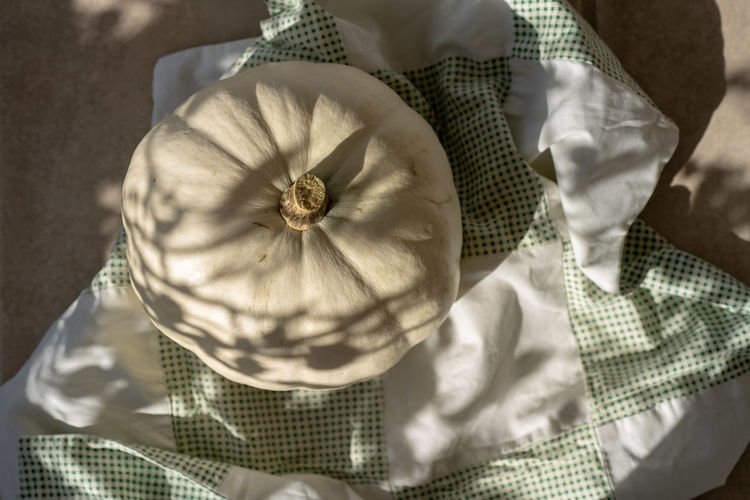 Directly Above Shot Of Pumpkin On Tablecloth