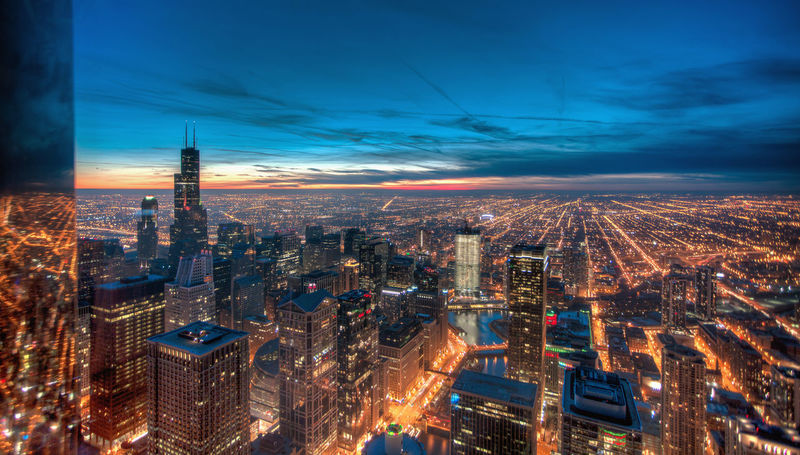 Chicago Skyline aerial sunset Aerial View Architecture Building Exterior Built Structure Capital Cities  City City Life Cityscape Cloud - Sky Crowded High Angle View Illuminated Modern Night Office Building Sky Skyscraper Tall - High Tower Travel Destinations