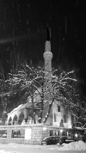 Winter Snow City Architecture Built Structure Night Building Exterior Cold Temperature Snowing Outdoors No People Cityscape Sky Mosques Of The World Sarajevo