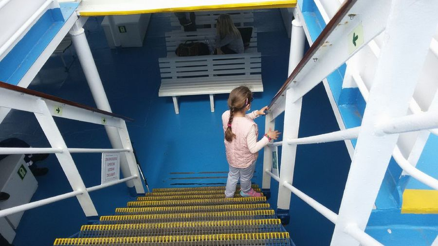 Little woman Dametraveler UNPOSED Architecture Ferryboat Behind People Around You Photographing Females People Steps And Staircases Staircase Travel Stairway Full Length Blond Hair Standing