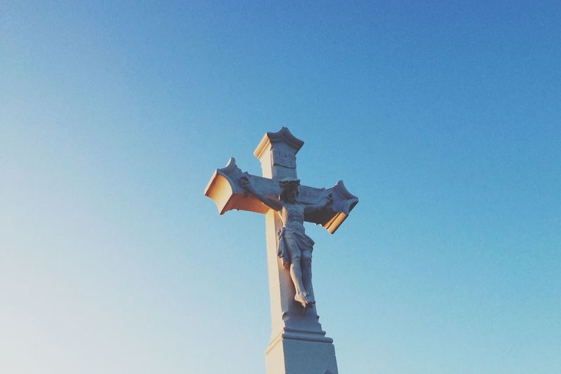Blue Blue Sky Cross Jesus Light And Shadow Outdoors Statue Sunset
