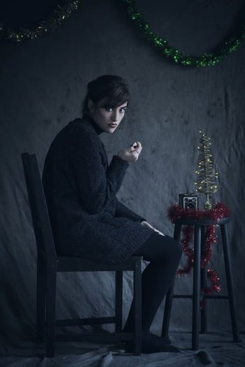 Christmas Without You. One Person Sitting One Young Woman Only EyeEm Best Shots For The Love Of Photography EyeEm Best Shots - People + Portrait EyeEm Gallery Fashion Narratives Female Subjective Model Art Photographer Taking Photos Beautiful Woman Beautiful People Beauty One Woman Only Feminine  Looking At Camera Young Adult Portrait Indoors  Light