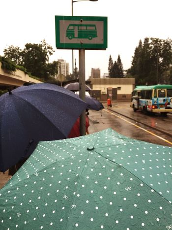 Que for minibus in the rain. Transportation Outdoors People RainDrop
