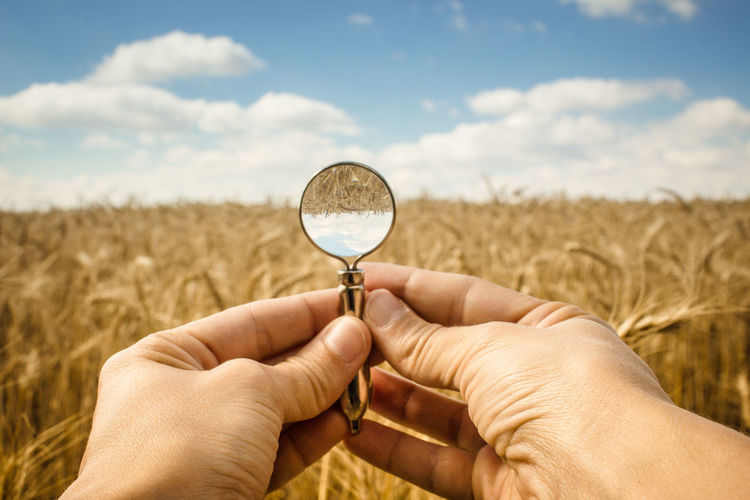 Cropped hands holding magnifying glass on agricultural field against sky