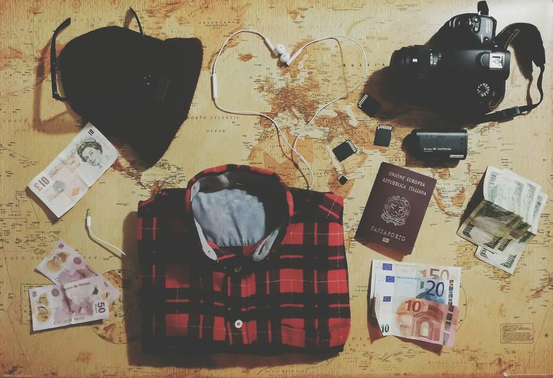 Finding New Frontiers Lovefortravel Globetrotter Hearth Neverstopexploring  Fernweh Ready To Go Plaid Shirt  Camera Actioncam Memory Cards Passport Earphones In ❤ Sunglasses Beanie Cashmoney