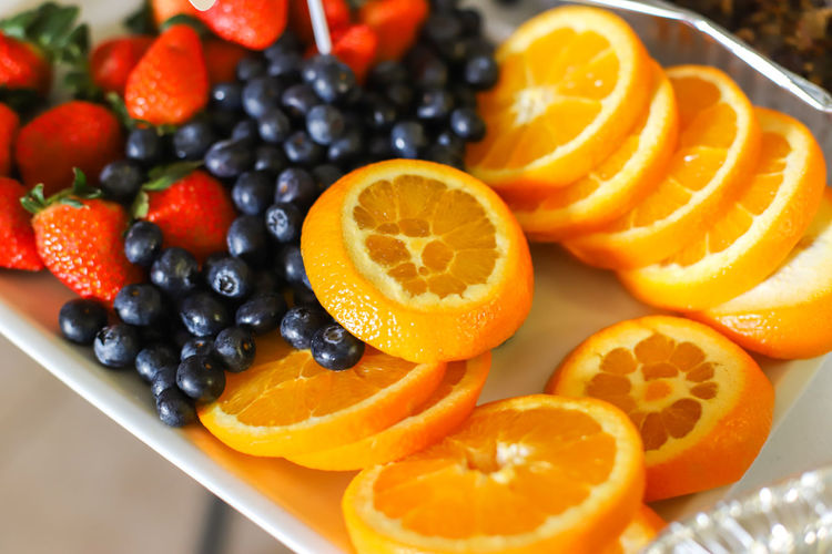High angle view of fruits in plate