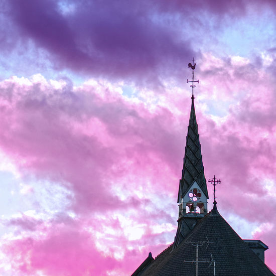Cotton candy clouds Church Architecture Cotton Candy Sky Cotton Candy Clouds  Pink Sky Purple Sky Clouds Cloudsporn Place Of Worship City Spirituality Sunset Religion History Statue Sky Architecture Building Exterior Clock Tower Bell Tower - Tower