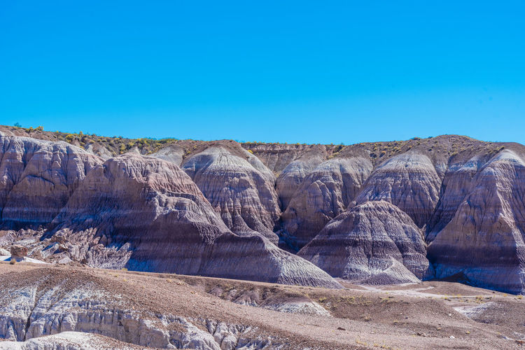 Landscape of purple striped badlands at blue mesa in petrified forest national park in arizona