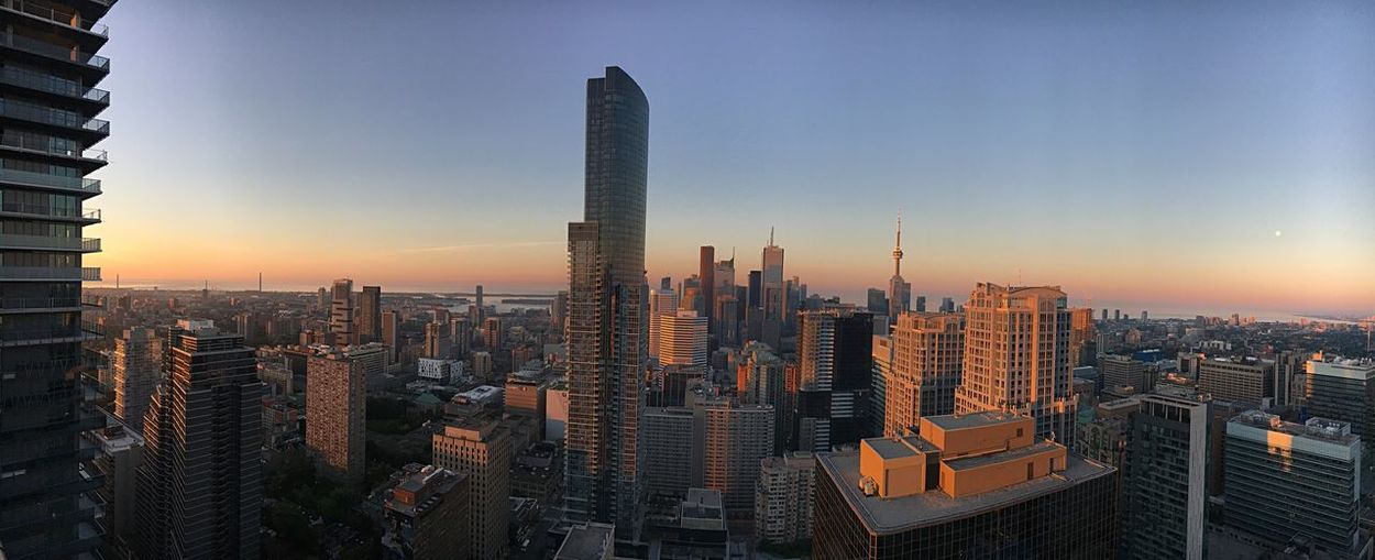 Sunrise in the Six Lake View Lake Ontario Downtown Downtowntoronto EyeEmNewHere Views View Architecture Office Building Exterior Building Exterior Built Structure Sky Building Skyscraper City Sunset Urban Skyline Cityscape Tower Modern