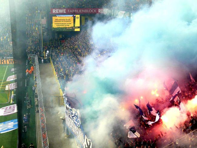 bvb/hertha yesterday Soccer Fans Soccer Stadium Rampage  Hooligans Revolt Against Team Fan - Enthusiast Close-up Firework Exploding Protestor Protest