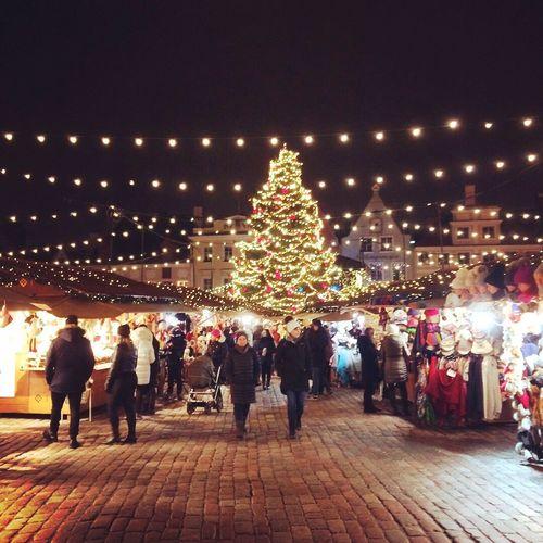 People on illuminated christmas tree at night