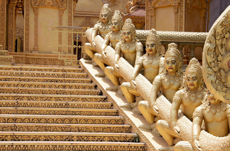 Steps by statues at temple