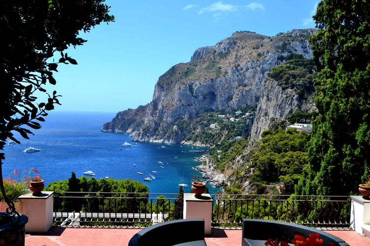 Amalfi Coast Naples Vacations View Beauty In Nature Blue Capri Day Horizon Over Water Italy Mountain Nature No People Outdoors Railing Scenics Sea Sky Sunlight Table Tranquility Travel Destination Travel Destinations Tree Water