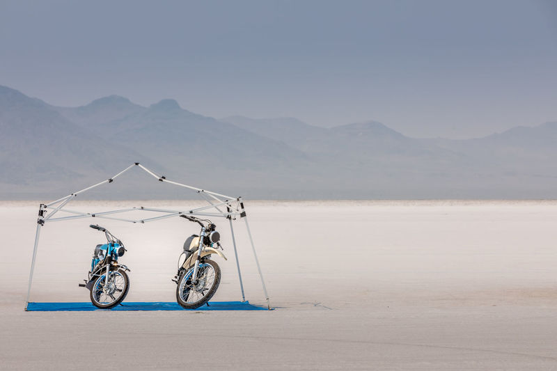Motorcycles parked at bonneville salt flats