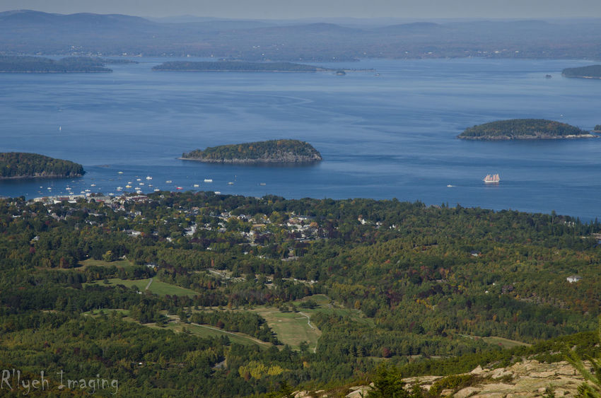 Bar Harbor Beauty In Nature Blue Coastline Day Elevated View Green Color Growth Hill Idyllic Landscape Mountain Nature No People Non-urban Scene Ocean Outdoors Remote Scenics Sea Sky Tranquil Scene Tranquility Travel Destinations Water