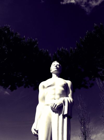 Mind Over Body Statue Clouds And Sky Conceptual Vision