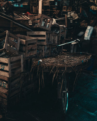 Wooden crates in warehouse