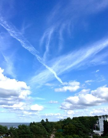 Sky Cloud - Sky Blue Built Structure Architecture Day No People Outdoors Beauty In Nature Building Exterior Nature Scenics Tree Vapor Trail Zinnowitz Usedom, Germany Usedom View Balticsea