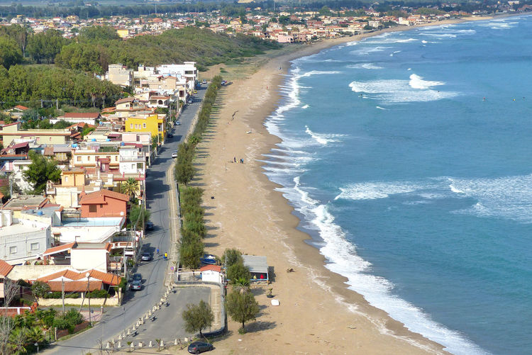 Landscape Nature Agnone Siracusa Sicily Italy Water Tree Sea Beach Sand Aerial View High Angle View