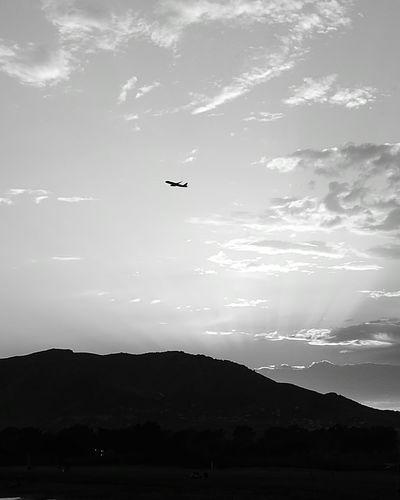 Málaga, Spain Flying Airplane Mountain Silhouette Sky