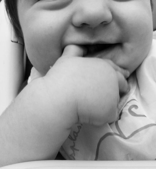 Blackandwhite Black & White Blackandwhite Photography Human Body Part Babies Only Baby ❤ Babygirl Baby Addicted Baby Love ❤ Human Hand Babyphotography Baby Hand Baby Smile Baby Mouth Human Lips Indoors  Baby People One Person Baby Photography Indoors  Finger In Mouth Baby Nose Baby Finger