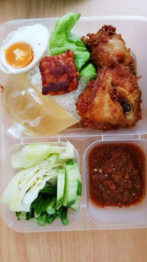 My lunch-Nasi Ayam Penyet Lunch Time! Mylunch♡ Fried Chicken Foodphotography Foodstagram Food On The Go