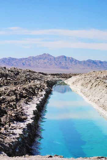 Desert Creek Scenics Water Beauty In Nature Tranquil Scene Tranquility Nature EyeEmNewHere Mountain Day Outdoors Blue Sky No People Mountain Range Salt Flat Salt - Mineral