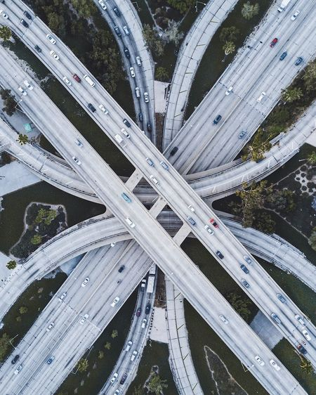 City of Angels Drone  Dji Transportation Bridge - Man Made Structure Aerial View Highway Overpass Elevated Road Road