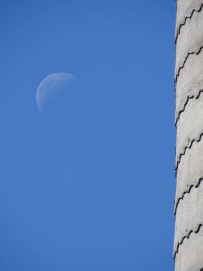 ezefer Moon Astronomy Blue Clear Sky Crescent Day Half Moon Low Angle View Moon Nature No People Outdoors Sky