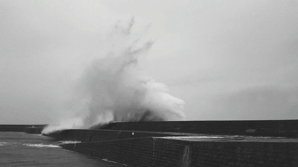 Storm Wave Vague Port Bretagne Noir Et Blanc White And Black Tempête Port Maria Water RISK No People Outdoors Day Nature