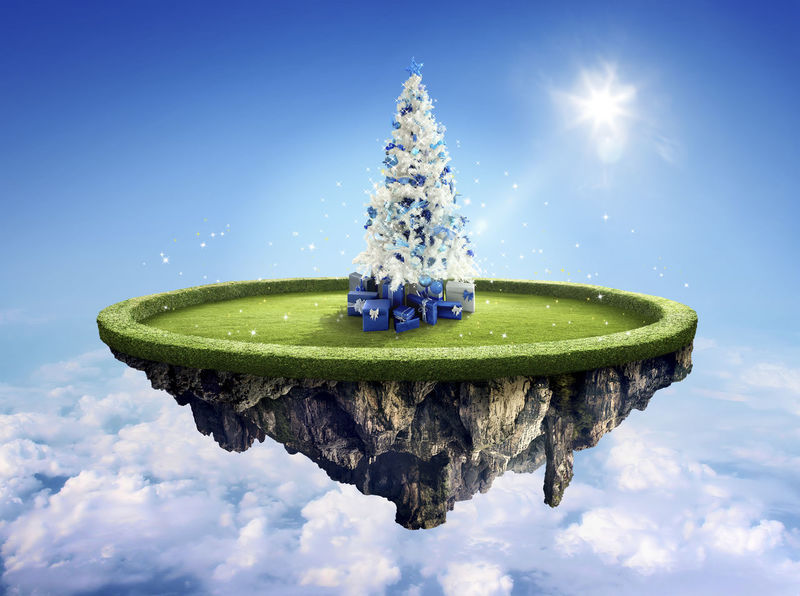 Amazing fantasy scenery with floating islands with white Christmas tree Amazing View Celebration Christmas December Float Fly Fun White Christmas Amazing Blue Sky Clouds Floting Flying Sky Sunflare