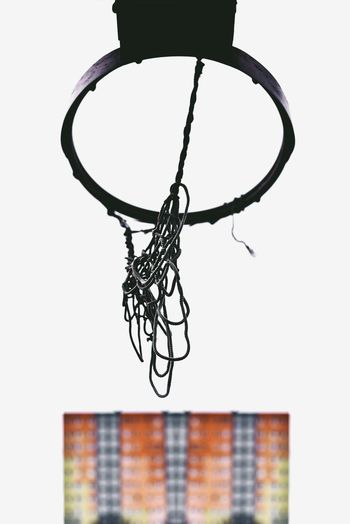 Architecture Art And Craft Basketball - Sport Basketball Hoop Close-up Copy Space Cut Out Day Design Electric Lamp Indoors  Lighting Equipment Low Angle View Metal Net - Sports Equipment No People Shape Sport Studio Shot White Background