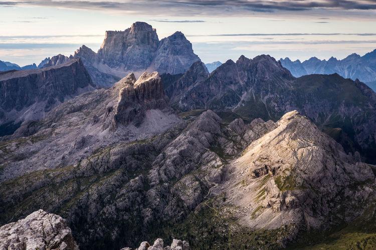 Rocks on mountain against sky