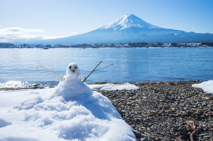 fuji mt. and kawaguchi lake with snow, japan. Animal Themes Beauty In Nature Bird Cold Temperature Day Frozen Iceberg Jaoan Kawaguchi Lake Lake Mountain Nature No People One Animal Outdoors Scenics Sky Snow Snowcapped Mountain Swan Tranquil Scene Tranquility Water Winter