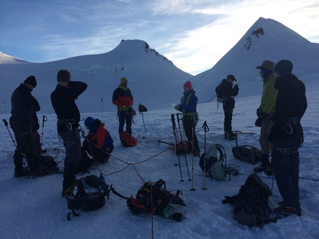 Italian Alps Monte Rosa Mountain Climbing Snow Snow Covered Mountains Team Work Resting Place Altitude Rest Breakfast Alpineering Roped Party Mountain Hiking Crampons