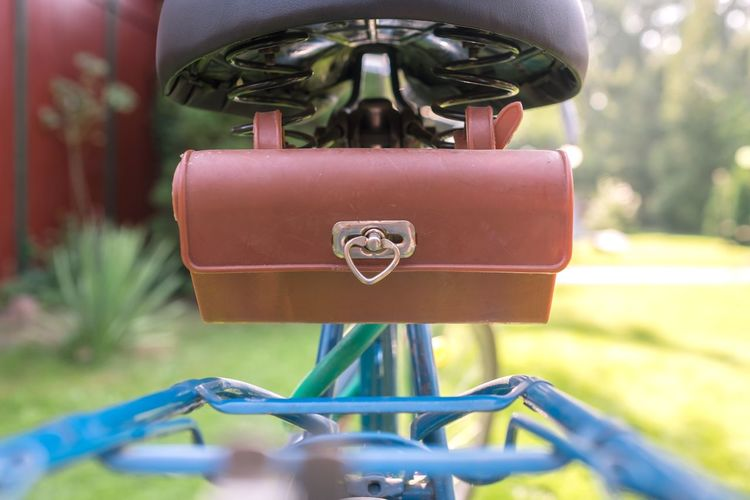 Bicycle Blue Close-up East Germany Heart Shape Old Pannier Rear View Saddle Saddlebag Toolbox