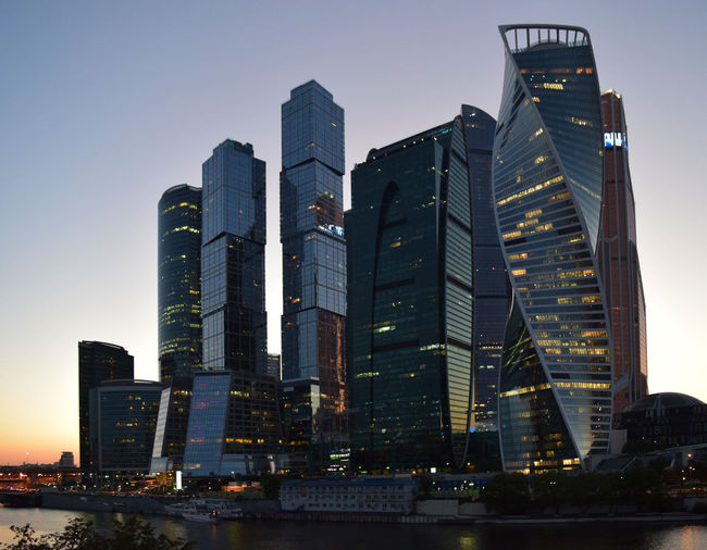 Building Exterior Architecture Built Structure Building Office Building Exterior City Skyscraper Modern Sky Office Tall - High Illuminated Urban Skyline Nature No People Landscape Tower Dusk Cityscape Travel Destinations Financial District  Outdoors Moscow City Modern Architecture Façade
