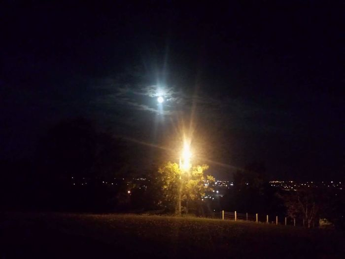 City Lamp Moon Night