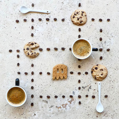 Coffee Food Flatlay Still Life Beans Cookies Spoons Cup Cookie Large Group Of Objects Stone Directly Above Table Snack Coffee Time Coffee Beans Love Fun Playful Game Espresso Food And Drink Biscuits Coffee Cup Indoors