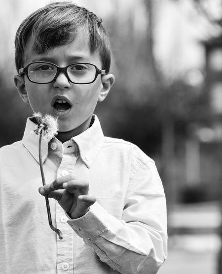 Portrait of boy holding eyeglasses