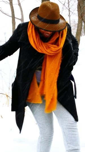 Bracing this damn snow. Winter Snow Day NYC Harlem  Snow Style Fashion Winterstyle FedoraHat Scarf