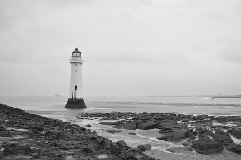 Black And White Digital England Fog Lighthouse Mist New Brighton New Brighton Beach Sea Spring Water