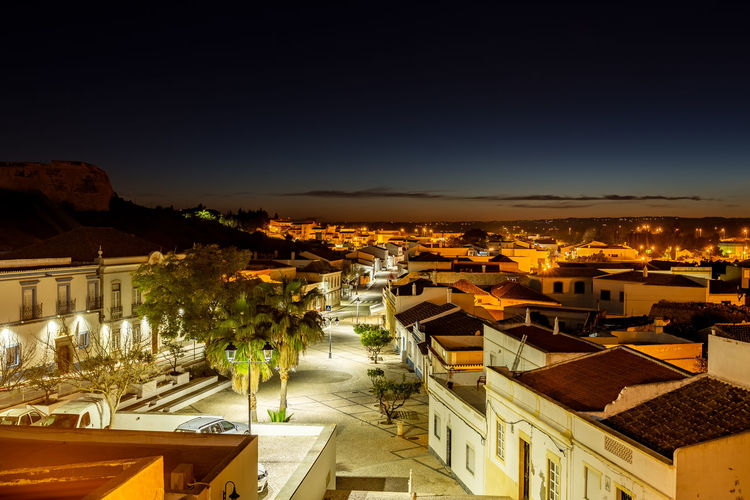 Castro Marim village, Algarve, Portugal Nightscape of Castro Marim Architecture Building Exterior Built Structure Building City High Angle View Residential District Sky Roof Illuminated Cityscape Nature No People House Town Night Copy Space Outdoors TOWNSCAPE